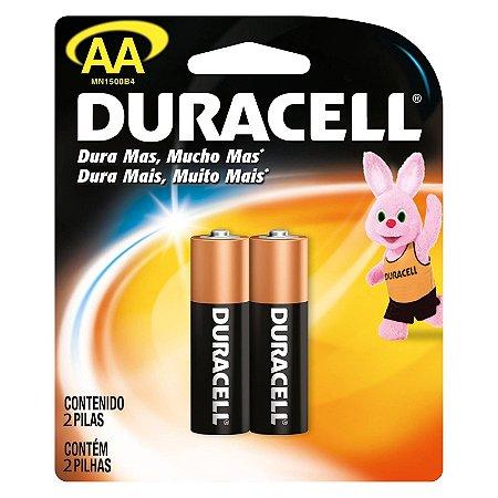 Pilha Alcalina Duracell AA Blister com 2 Un,