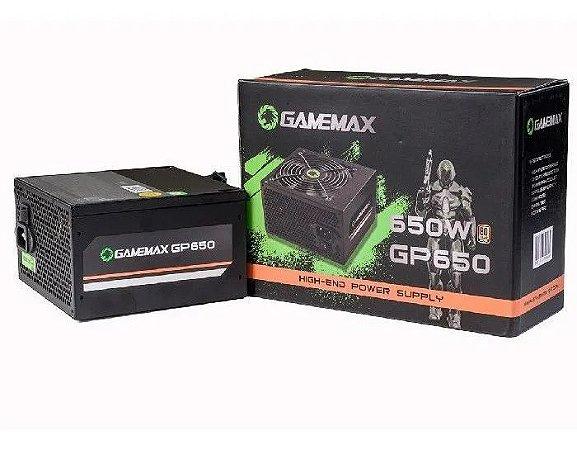 FONTE ATX 650W GP650 24P SATA COM CABO 80 PLUS BRONZE PRETO GAMEMAX