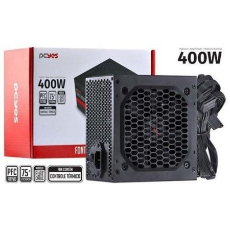 FONTE ATX SPARK 75+ 400W - PFC ATIVO - CABOS FLAT - PXSP400WPT - PCYES
