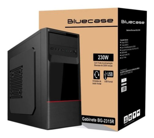 GABINETE COM FONTE 230W BG-2315R PRETO BLUECASE - 1 BAIA EXTERNA