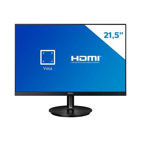 "MONITOR PHILIPS 21,5"" LED 221V8 (HDMI / VGA/VESA / AJUSTE DE INCLINACAO / BORDAS ULTRAFINAS / 1920x1080 FULL HD/75Hz)"