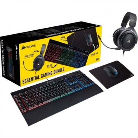 COMBO GAMER CORSAIR 4x1( TEC / MOUSE / HEADSET / MOUSE PAD) PN  CH-9226315-BR