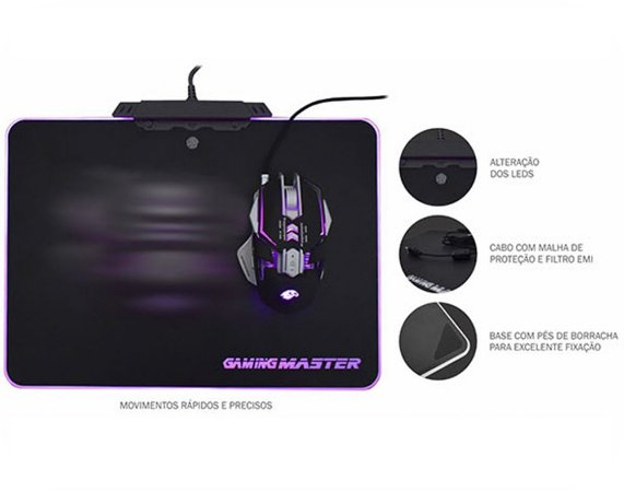 Mouse PAD Boreal +RGB LED 350*250*5.8MM