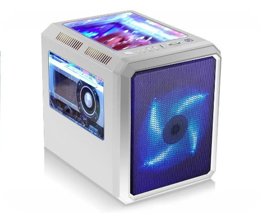 Gabinete Gamer MicroCraft CG-02RC Branco c 1 Fan Azul 200mm
