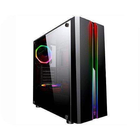Gabinete Gamer Odyssey preto CG04RD Painel RGB Rainbow s/Fan