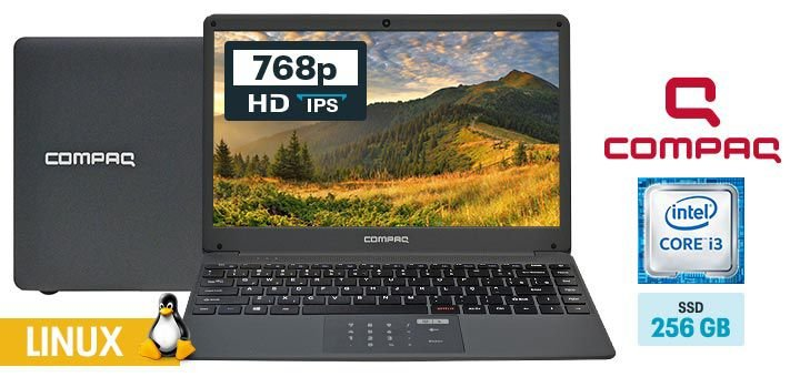 """Notebook Compaq PC814 Intel i3 5005u  SSD 240gb Tela 14"""" Preto"""