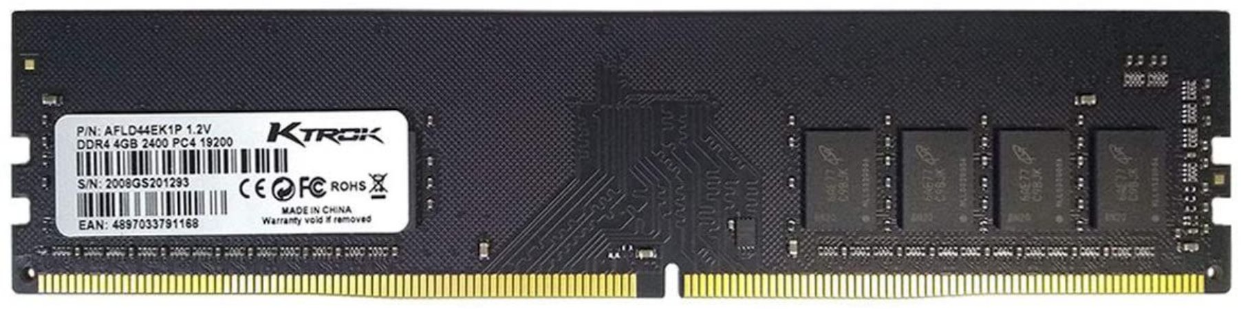 MEMORIA AFOX 4GB DDR 4 2400mhz DIMM AFLD44EK1P