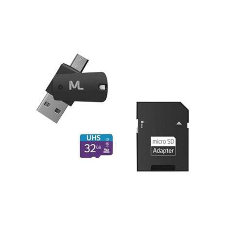 CARTÃO DE MEMÓRIA 4X1 ULTRA HIGH SPEED ATÉ 80 MB/S UHS1 32GB +ADAPTADOR SD USB DUAL MC151 CLASSE 10 - MULTILASER