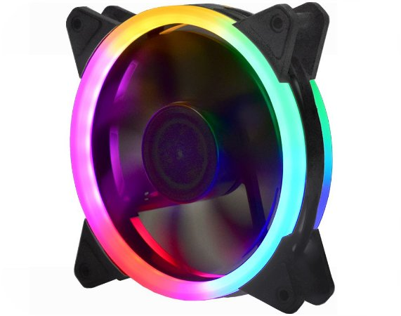 COOLER FAN K-MEX DOUBLE RING LED COLORIDOS 5 CORES 120X120