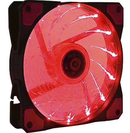 Led Cooler Fan Gamer Vermelho 120*120 c/ 15 Leds 9 Helices