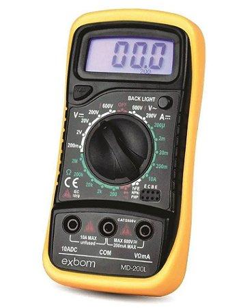MULTIMETRO DIGITAL PROFISSIONAL C/DISPLAY ILUMINADO MD200L AMARELO EXBOM