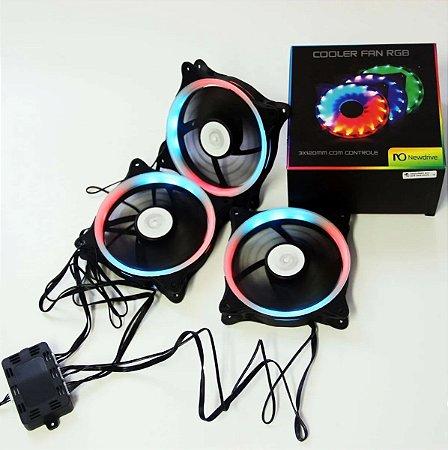 Cooler FAN Newdrive p/Gab. KIT c/3 x 12cm RGB c/controle BOX