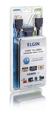 CABO HDMI ELGIN 1,8M C/ADAPT.MINI/MICRO