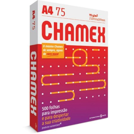 PAPEL BRANCO A4 75GRS 210X297 500 FOLHAS - CHAMEX