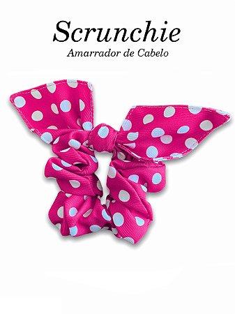 Scrunchie - Amarrador de cabelo Poá Pink - uniblu