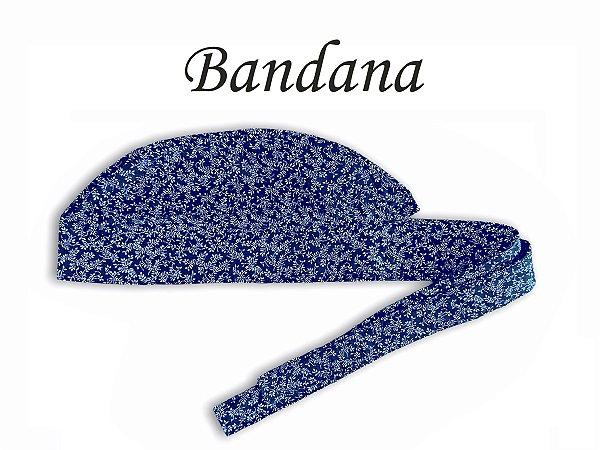 Bandana - Touca Pirata  Floral Marinho - ( unisex ) -  Uniblu