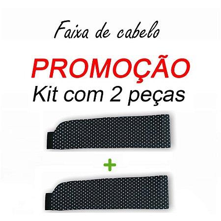 P R O M O Ç Ã O:  kit com 2 Faixas de Cabelo - Poá Preto nº1 - Uniblu