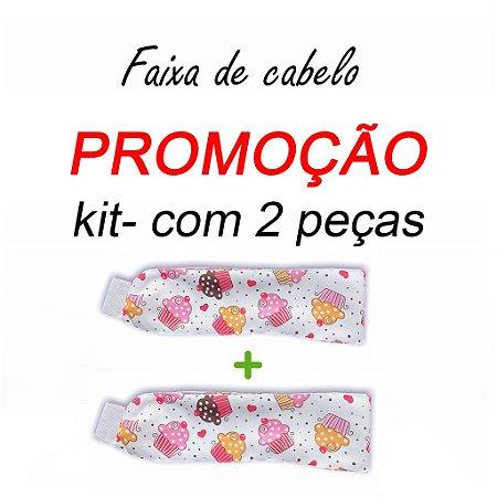 P R O M O Ç Ã O:  kit com 2 Faixa de Cabelo - Cupcakes - Uniblu