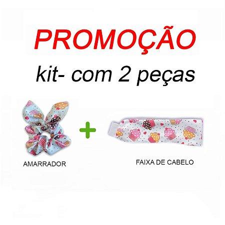 P R O M O Ç Ã O:  kit com 1 Faixa de Cabelo + Scrunchie - Cupcakes - Uniblu