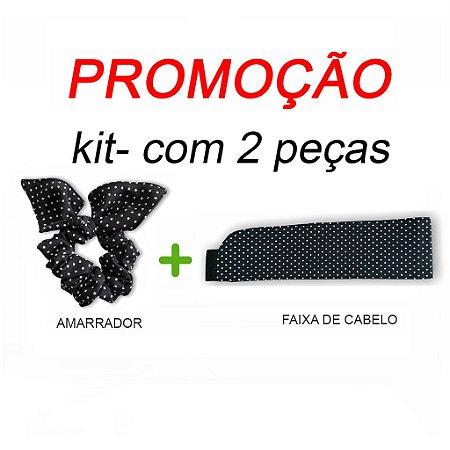 P R O M O Ç Ã O:  kit com 1 Faixa de Cabelo + Scrunchie - Poá preto nº1- Uniblu