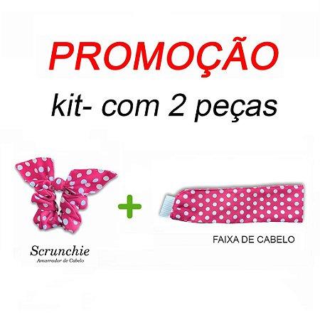 P R O M O Ç Ã O:  kit com 1 Faixa de Cabelo + Scrunchie - Poá Pink- Uniblu