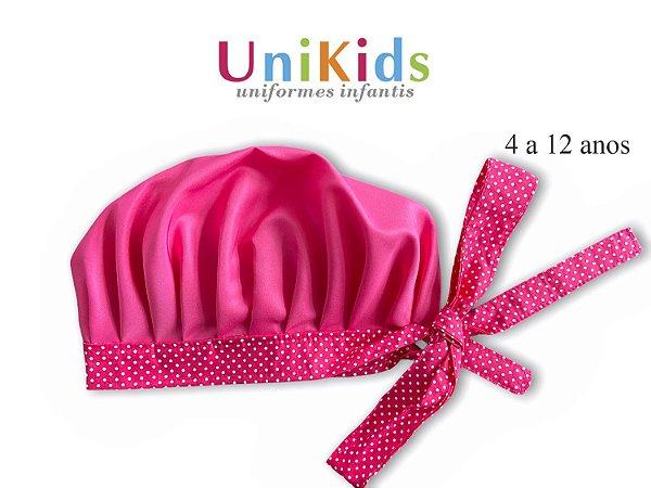 Touca Unikids - Pink com Detalhes Poá Rosa - Uniblu