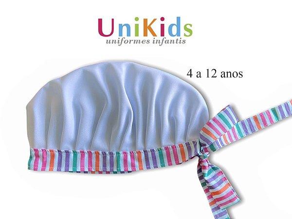 Touca Unikids - Branca Detalhes Listras Coloridas - Uniblu
