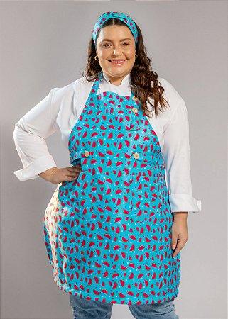 Avental Plus Size - Modelo Roma Melancias Azul - Uniblu