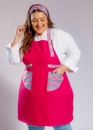 Avental Plus Size - Modelo Roma Pink com Listras Coloridas - Uniblu