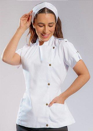Camisa Feminina Chefe Cozinha - Dolman Farda Manga Curta - Branca - Uniblu