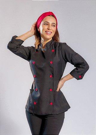 Camisa Feminina Chefe Cozinha - Dolman Stilus - Gabardine Italiano Cor- Preta Com Botões Vermelhos- Uniblu