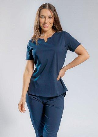 Scrub  - Pijama Cirúrgico Confort Fashion Azul Marinho - Uniblu