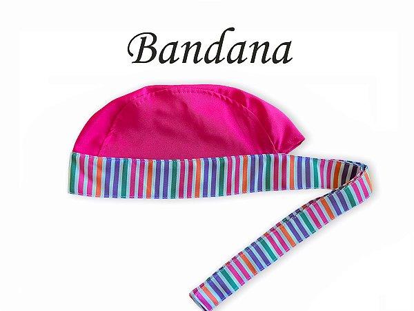 Bandana - Touca Pirata Listras Cabeça Pink e Aba em Listras Coloridas - ( unisex ) -  Uniblu