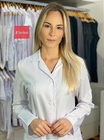"Jaleco Feminino Slim - Gola Tradicional cor- Branco "" Microfibra Italiana "" Uniblu"