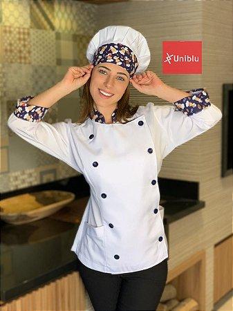 Camisa Feminina Chefe Cozinha - Dolman Stilus - Detalhes Chefinho Marinho - Uniblu