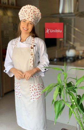 Avental Roma - Bege com Detalhes em Pimentas - Uniblu