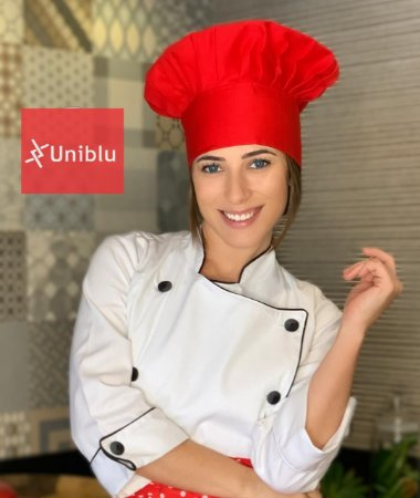 Touca Chefe ou Chapéu Chefe - Vermelha ( unisex ) uniblu
