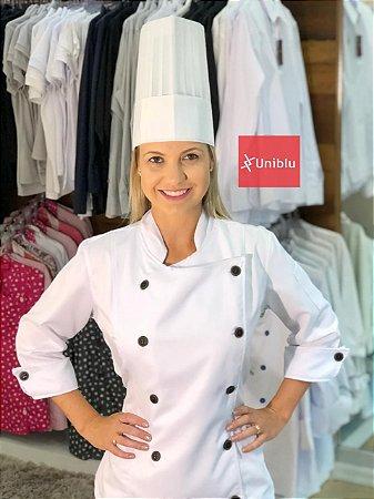 Camisa Feminina Chefe Cozinha - Dolman Stilus - Gabardine Italiano Cor- Branca Com Botões Pretos - Uniblu
