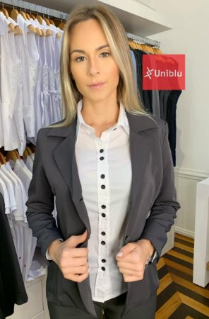 Blazer Social Feminino Executivo - Chumbo - Uniblu