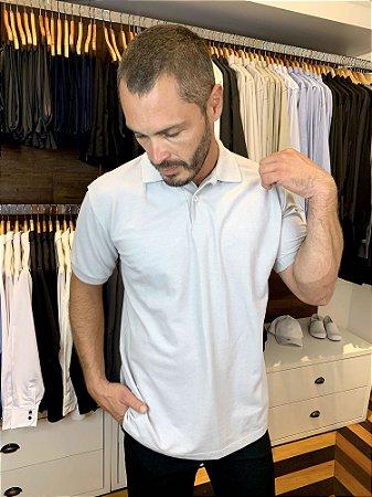 Camisa Polo Masculina Cinza Claro -Uniblu