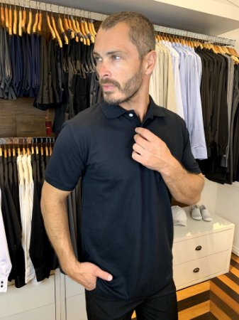 Camisa Polo Masculina Preta - Black - Uniblu