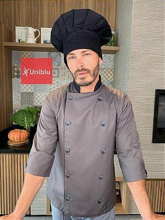 Camisa Chefe Cozinha - Dolmãn Stilus Chumbo - Uniblu