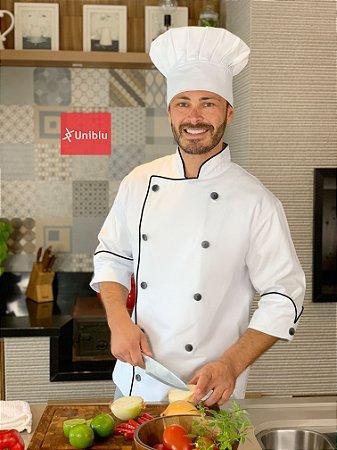Camisa Chef Cozinha - Dolmãn stilus Branca Algodão - Uniblu