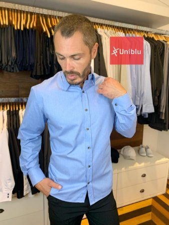 Camisa Social Masculina -  Confort Plus Jeans - Uniblu