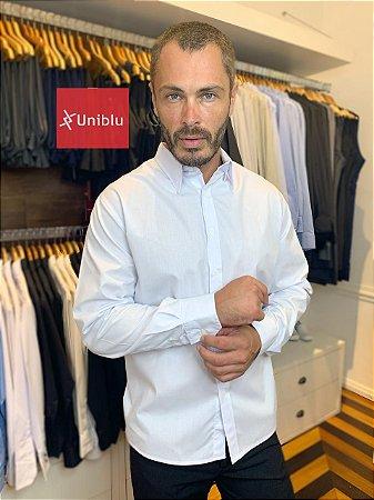 Camisa Social Masculina -Tecido Camisaria Cor- Branca - Uniblu