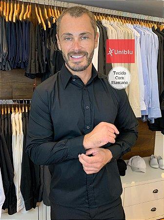 Camisa Social Masculina - Tecido Ibiza Elastano Cor- Preta - Uniblu