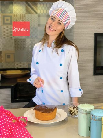 Camisa Feminina Chefe Cozinha - Dolman Stilus Branca - Botões Azul Royal - Uniblu