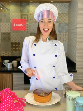Camisa Feminina Chefe Cozinha - Dolman Stilus Branca - Botões Azul Marinho - Uniblu