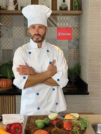 Camisa Chefe Cozinha - Dolmãn Stilus Branca - Botões Azul Royal - Uniblu