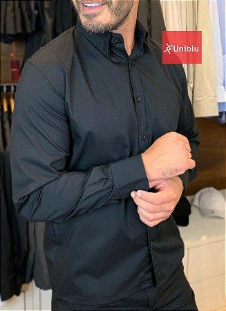 Camisa Social Masculina - Tecido Tricoline Camisaria Cor- Preta - Uniblu